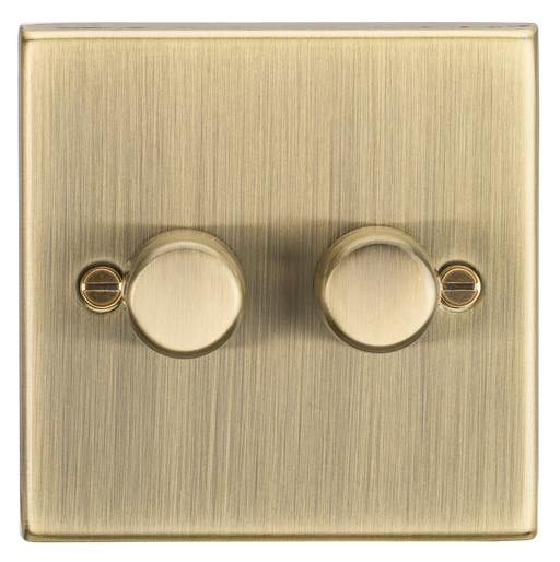 Knightsbridge CS2182AB 2G 2 Way 10-200W Dimmer - Square Edge Antique Brass - Knightsbridge - Sparks Warehouse