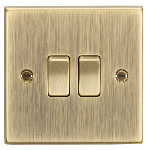 Knightsbridge CS3AB 2 Gang 2 way Light Switch - Square Edge Antique Brass - Knightsbridge - Sparks Warehouse
