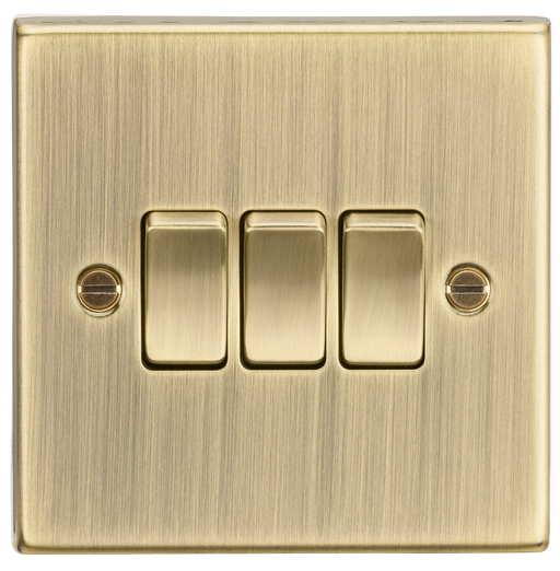 Knightsbridge CS4AB 3 Gang 2 way Light Switch - Square Edge Antique Brass - Knightsbridge - Sparks Warehouse