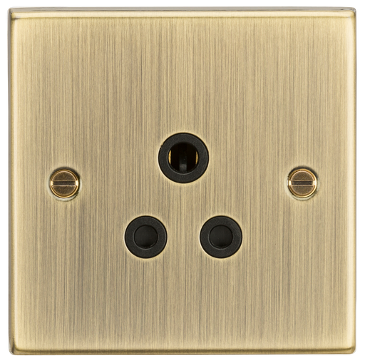 Knightsbridge CS5AAB 5A Unswitched Socket - Square Edge Antique Brass - Black Insert