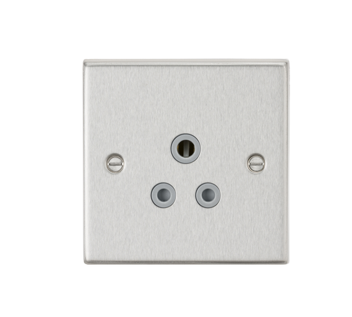Knightsbridge CS5ABCG 5A Unswitched Socket - Square Edge Brushed Chrome Finish with Grey Insert