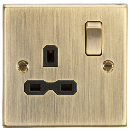 Knightsbridge CS7AB 13A 1G DP Switched Socket with Black Insert - Square Edge Antique Brass - Knightsbridge - Sparks Warehouse
