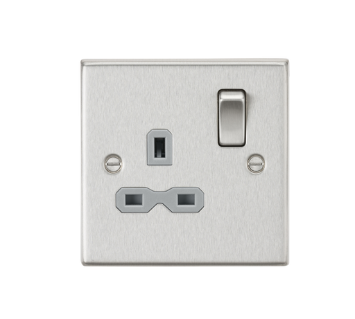 Knightsbridge CS7BCG 13A 1G DP Switched Socket with Grey Insert - Square Edge Brushed Chrome