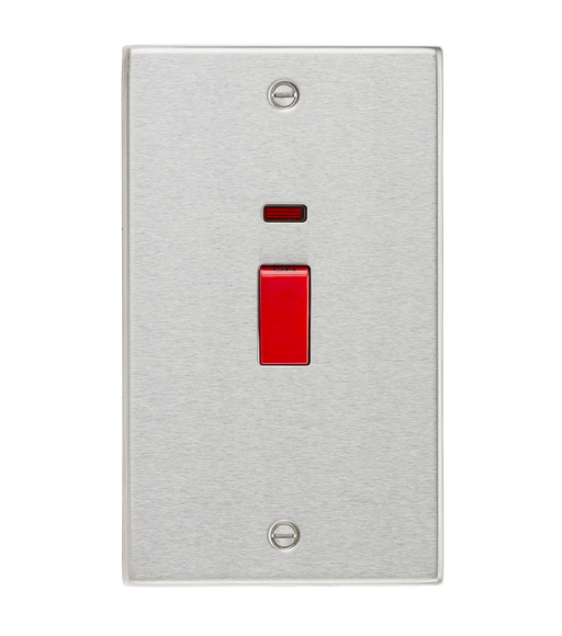 Knightsbridge CS82NBC 45A DP Switch with Neon (double size) - Square Edge Brushed Chrome