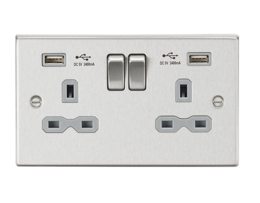 Knightsbridge CS9224BCG 13A 2G Switched Socket Dual USB Charger (2.4A) with Grey Insert - Square Edge Brushed Chrome