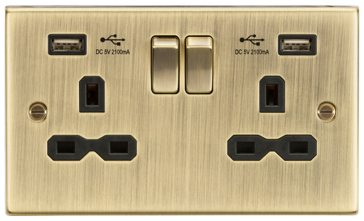 Knightsbridge CS9224AB 13A 2G DP Switched Socket - USB Square Edge Antique Brass - Knightsbridge - Sparks Warehouse