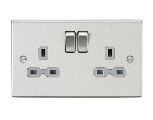 Knightsbridge CS9BCG 13A 2G DP Switched Socket with Grey Insert - Square Edge Brushed Chrome