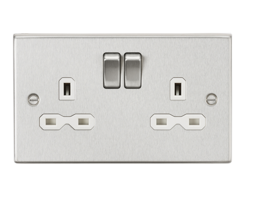 Knightsbridge CS9BCW 13A 2G DP Switched Socket with White Insert - Square Edge Brushed Chrome