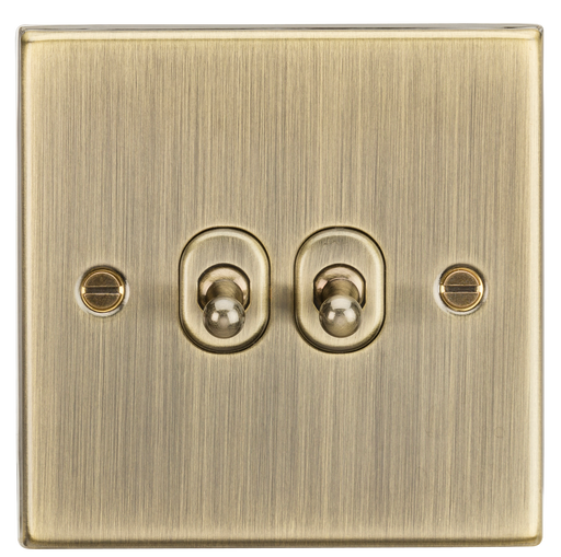 Knightsbridge CSTOG2AB 10A 2G 2 Way Toggle Switch - Square Edge Antique Brass - Knightsbridge - Sparks Warehouse