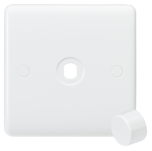 Knightsbridge CU1DIM Curved Edge 1G Dimmer Plate with Matching Dimmer Cap