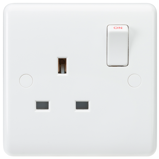 Knightsbridge CU7000 White Curved edge 13A 1G DP switched socket
