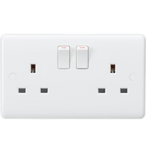 Knightsbridge CU9000 White Curved edge 13A 2G DP switched socket