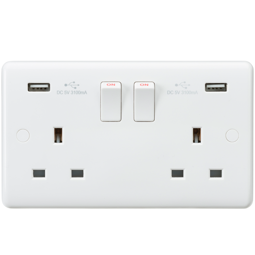 Knightsbridge CU9904 - Curved edge 13A 2G switched socket with dual USB charger (5V DC 3.1A shared)