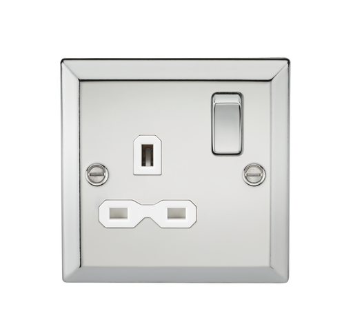 Knightsbridge CV7PCW 13A 1G DP Switched Socket with White Insert - Bevelled Edge Polished Chrome - Knightsbridge - Sparks Warehouse