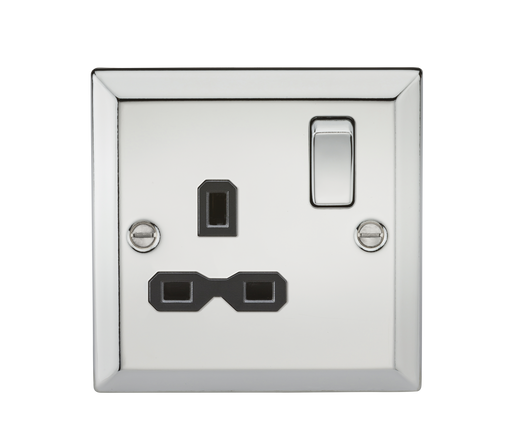 Knightsbridge CV7PC 13A 1G DP Switched Socket with Black Insert - Bevelled Edge Polished Chrome - Knightsbridge - Sparks Warehouse