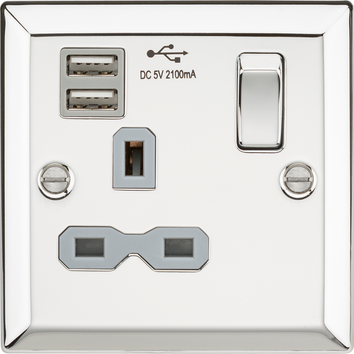 Knightsbridge CV91PCG 13A 1G Switched Socket Dual USB Charger Slots with Grey Insert - Bevelled Edge Polished Chrome - Knightsbridge - Sparks Warehouse