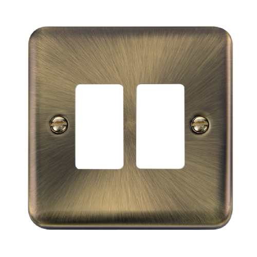 Scolmore DPAB20402 - 2 Gang GridPro® Frontplate - Antique Brass - Scolmore - Sparks Warehouse