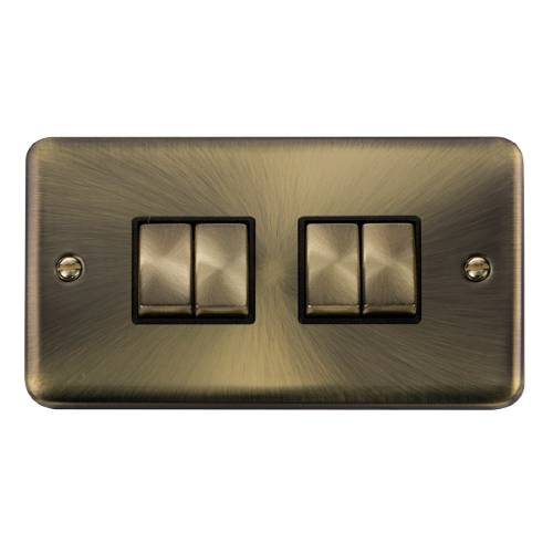 Scolmore DPAB414BK - 10AX Ingot 4 Gang 2 Way Plate Switch - Black - Scolmore - Sparks Warehouse