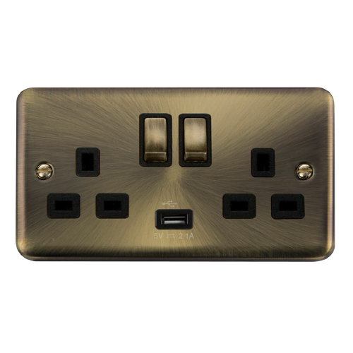 Scolmore DPAB570BK - 13A Ingot 2 Gang Switched Socket With 2.1A USB Outlet (Twin Earth) - Black - Scolmore - Sparks Warehouse
