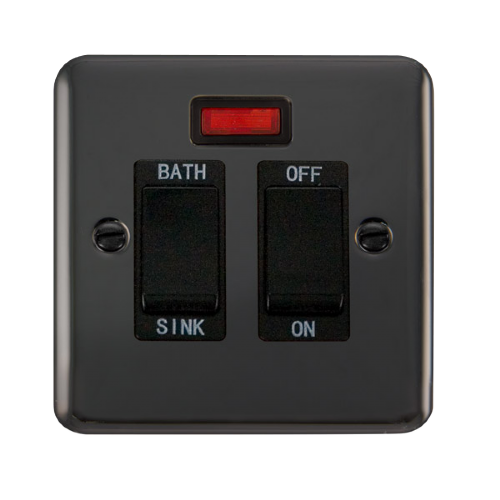 Scolmore DPBN024BK - 20A DP Sink/Bath Switch With Neon - Black - Scolmore - Sparks Warehouse