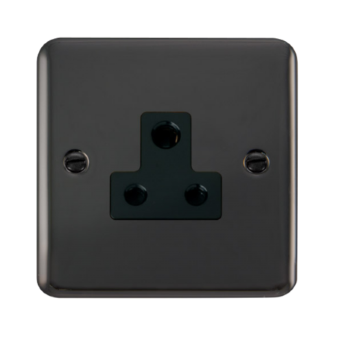 Scolmore DPBN038BK - 5A Round Pin Socket - Black - Scolmore - Sparks Warehouse