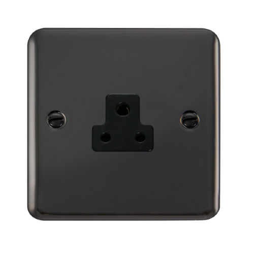 Scolmore DPBN039BK - 2A Round Pin Socket - Black - Scolmore - Sparks Warehouse