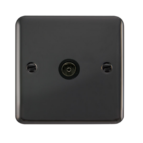 Scolmore DPBN065BK - Single Coaxial Outlet - Black - Scolmore - Sparks Warehouse