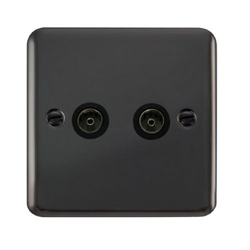 Scolmore DPBN066BK - Twin Coaxial Outlet - Black - Scolmore - Sparks Warehouse