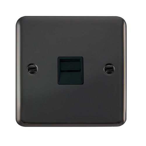 Scolmore DPBN125BK - Single Telephone Outlet - Secondary - Black - Scolmore - Sparks Warehouse