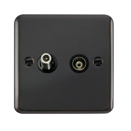 Scolmore DPBN157BK - Isolated Satellite & Coaxial Outlet - Black - Scolmore - Sparks Warehouse