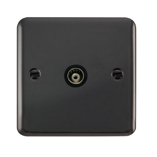 Scolmore DPBN158BK - Single Isolated Coaxial Outlet - Black - Scolmore - Sparks Warehouse