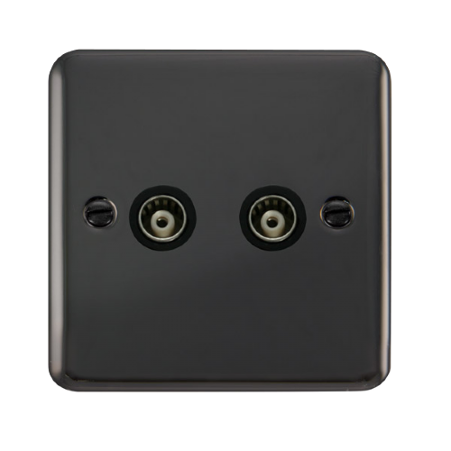Scolmore DPBN159BK - Twin Isolated Coaxial Outlet - Black - Scolmore - Sparks Warehouse
