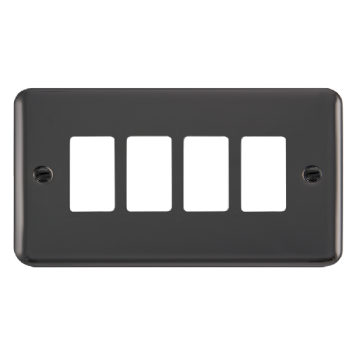 Scolmore DPBN20404 - 4 Gang GridPro® Frontplate - Black Nickel - Scolmore - Sparks Warehouse