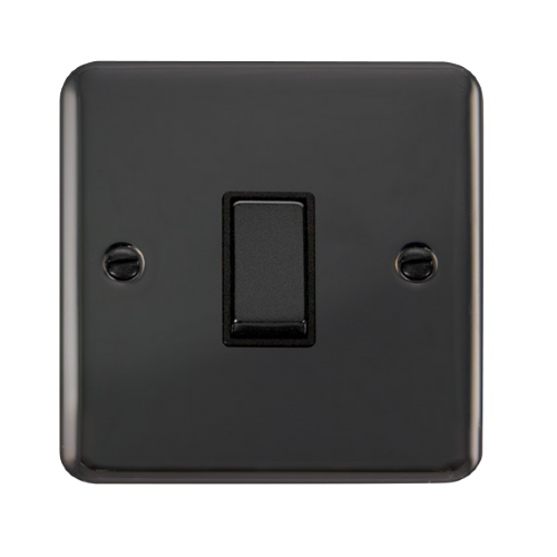Scolmore DPBN411BK - 10AX Ingot 1 Gang 2 Way Plate Switch - Black - Scolmore - Sparks Warehouse