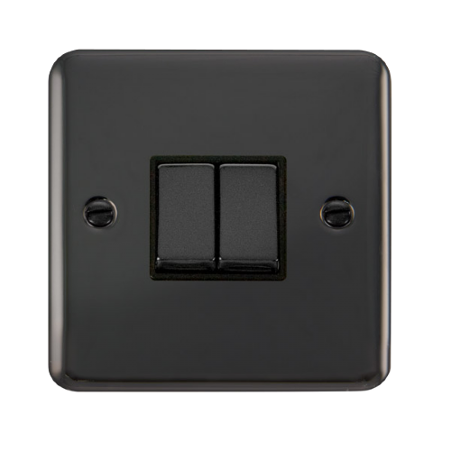 Scolmore DPBN412BK - 10AX Ingot 2 Gang 2 Way Plate Switch - Black - Scolmore - Sparks Warehouse