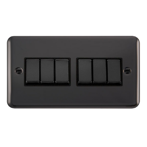 Scolmore DPBN416BK - 10AX Ingot 6 Gang 2 Way Plate Switch - Black - Scolmore - Sparks Warehouse
