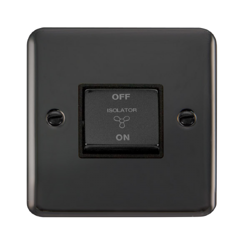 Scolmore DPBN520BK - 10AX Ingot 3 Pole Fan Isolation Plate Switch - Black - Scolmore - Sparks Warehouse