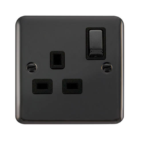 Scolmore DPBN535BK - 13A Ingot 1 Gang DP Switched Socket - Black - Scolmore - Sparks Warehouse