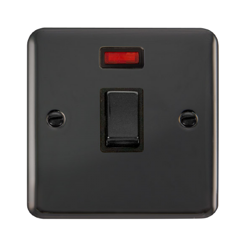 Scolmore DPBN723BK - 20A Ingot DP Switch With Neon - Black - Scolmore - Sparks Warehouse