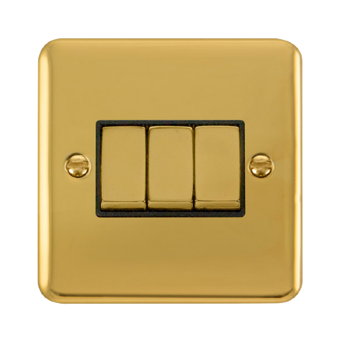 Scolmore DPBRBK-SMART3 - 1G Plate 3 Apertures Supplied With 3 x 10AX 2 Way Ingot Retractive Switch Modules - Brass - Black - Scolmore - Sparks Warehouse