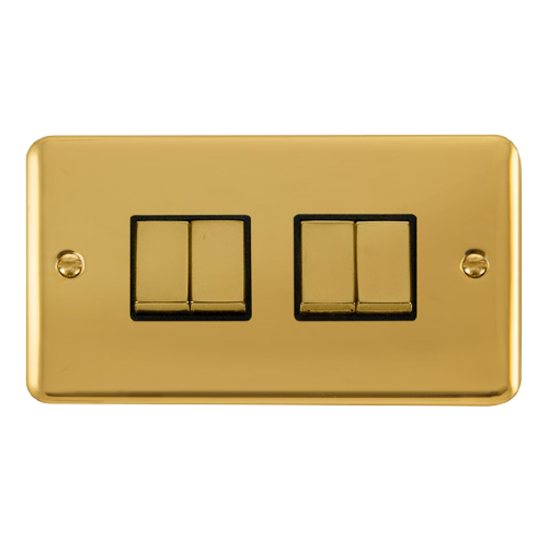 Scolmore DPBRBK-SMART4 - 2G Plate 2 x 2 Apertures Supplied With 4 x 10AX 2 Way Ingot Retractive Switch Modules -Brass - Black - Scolmore - Sparks Warehouse