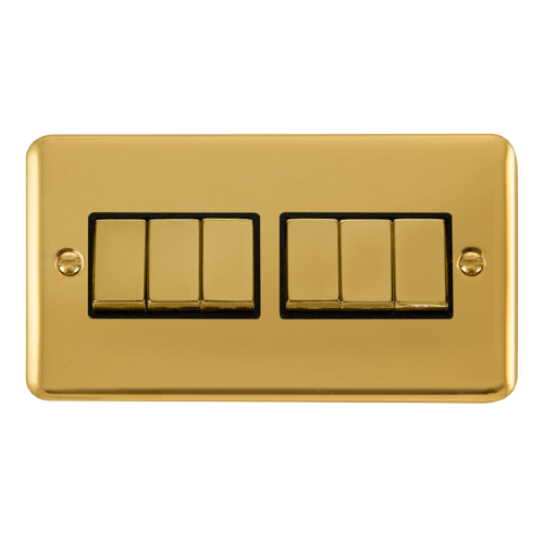 Scolmore DPBRBK-SMART6 - 2G Plate 2 x 3 Apertures Supplied With 6 x 10AX 2 Way Ingot Retractive Switch Modules - Brass - Black - Scolmore - Sparks Warehouse