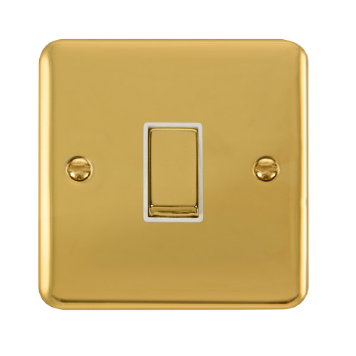 Scolmore DPBRWH-SMART1 - 1G Plate 1 Aperture Supplied With 1 x 10AX 2 Way Ingot Retractive Switch Module - Brass - White - Scolmore - Sparks Warehouse
