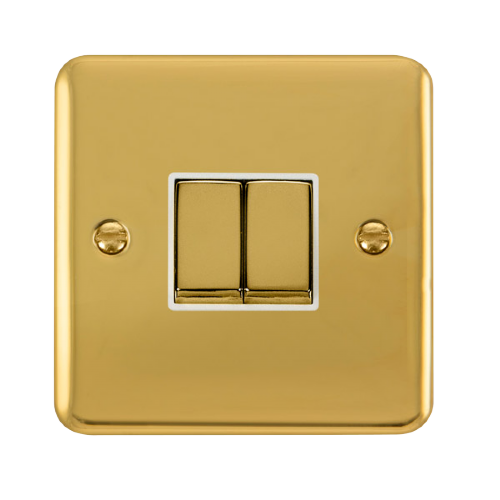 Scolmore DPBRWH-SMART2 - 1G Plate 2 Apertures Supplied With 2 x 10AX 2 Way Ingot Retractive Switch Modules - Brass - White - Scolmore - Sparks Warehouse