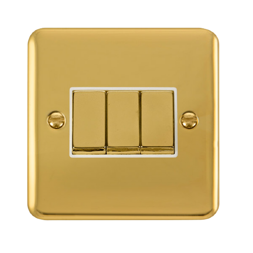 Scolmore DPBRWH-SMART3 - 1G Plate 3 Apertures Supplied With 3 x 10AX 2 Way Ingot Retractive Switch Modules - Brass - White - Scolmore - Sparks Warehouse