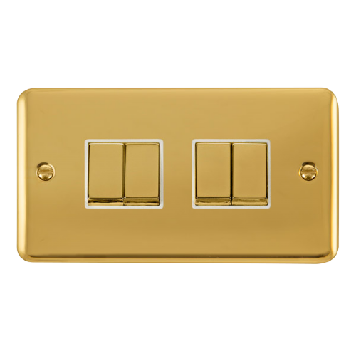Scolmore DPBRWH-SMART4 - 2G Plate 2 x 2 Apertures Supplied With 4 x 10AX 2 Way Ingot Retractive Switch Modules -Brass - White - Scolmore - Sparks Warehouse