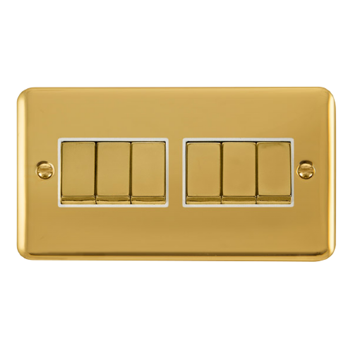 Scolmore DPBRWH-SMART6 - 2G Plate 2 x 3 Apertures Supplied With 6 x 10AX 2 Way Ingot Retractive Switch Modules - Brass - Black - Scolmore - Sparks Warehouse