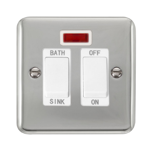 Scolmore DPCH024WH - 20A DP Sink/Bath Switch With Neon - White - Scolmore - Sparks Warehouse