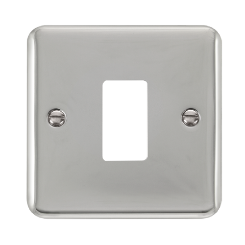 Scolmore DPCH20401 - 1 Gang GridPro® Frontplate - Polished Chrome - Scolmore - Sparks Warehouse