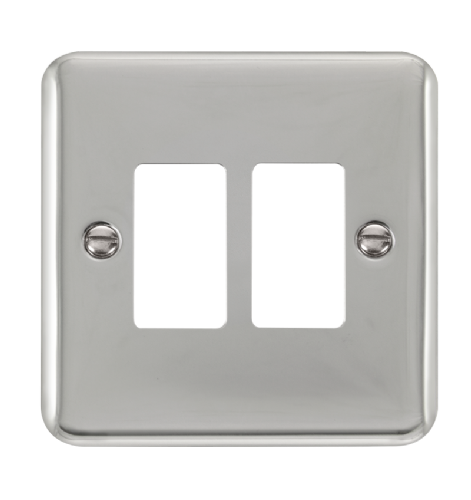 Scolmore DPCH20402 - 2 Gang GridPro® Frontplate - Polished Chrome - Scolmore - Sparks Warehouse